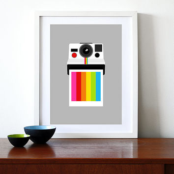 Polaroid poster print vintage camera Eames design retro rainbow office kitchen art - Instant Rainbow A3