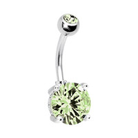 Belly Ring Big Cubic Zirconia Lime Green Belly Button Ring 14G with 1 Belly Retainer
