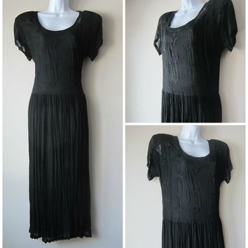 90s Crinkly Black Goth Witch Dress // Dark Mori Kei, Flowy Grunge Babydoll Maxi Dress