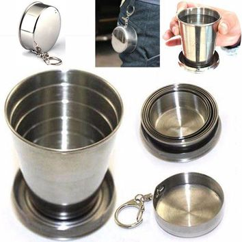 Stainless Steel Travel Folding Telescopic Collapsible Cup Camping 75Ml