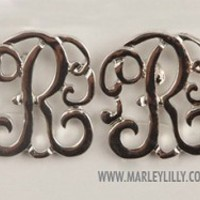 Monogrammed Single Initial Silver Cut Out Earrings on Posts   Earrings   Marley Lilly