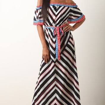 Chevron Off-The-Shoulder Slit Maxi Dress