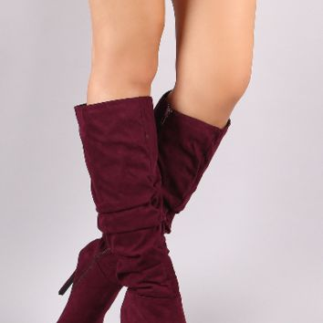 Gloria Burgundy Red Slouchy Knee High Boots