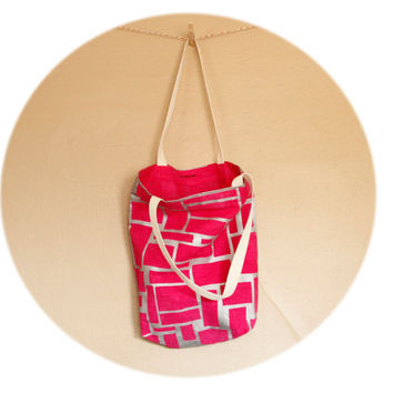 Bright Pink Tote Bag- cotton and linen tote with hand printed abstract brick, cobblestone design