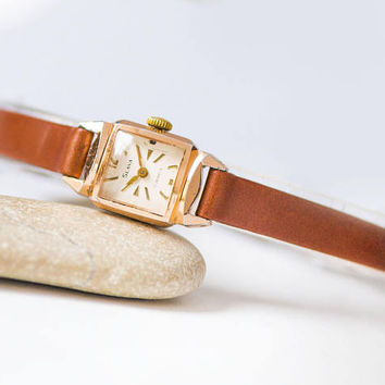 Vintage square women watch tiny, art deco women wristwatch Glory gift her, gold shade lady's watch, rare watch, genuine leather strap new