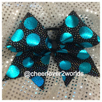 Cheer Bow - Teal Metallic Cheerleading Dance Ribbon