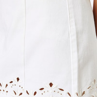PacSun White Eyelet Embroidered Denim Skirt at PacSun.com
