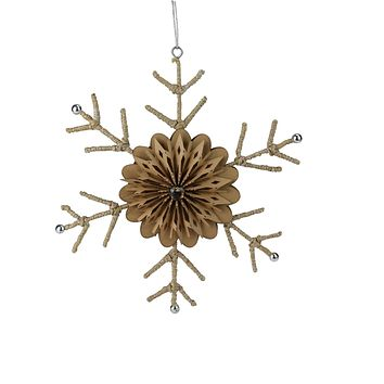 "10"" Urban Nature Large Rustic Snowflake Christmas Ornament"