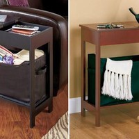 Side Table Accent End Hallway Lamp Night Stand Slim Storage Hidden Drawer