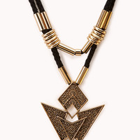 Worldly Cutout Geo Pendant Necklace