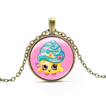 SHOPKINS TOY SERIES NECKLACE CHOKERS CUTE STYLE KAWAII STRAWBERRY ICE CREAM PATTERN NECKLACE FOR GIRL GIFT CARTOON ANIME JEWELRY