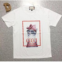 GUCCI Spring Summer Popular Women Men Casual Cute Glasses Cat Print Short Sleeve T-Shirt Top White I12888-1