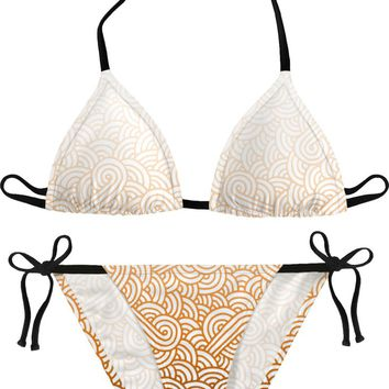 Gradient orange and white swirls doodles Bikini