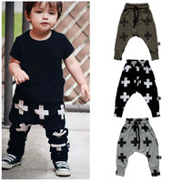 Retail 2017 Spring Kids Trousers Boys Harem Pant Cross Star Children Girls Clothing 100% Cotton Trousers Unisex Baby Pants