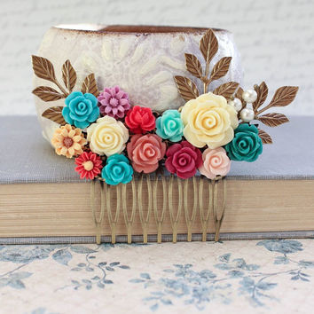Colorful Flower Hair Comb Bright Wedding Pearl Rustic Nature Branch Bridal Hair Piece Floral Unique Bohemian Multicolored Red Teal Pink
