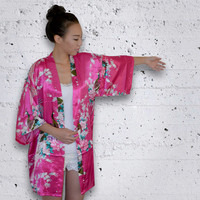 Ready to ship - Silk robe bridal kimono getting ready bridesmaids // 9 colors