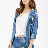 Hooded Chambray Dolman Anorak