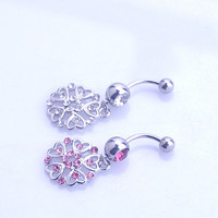 New Charming Dangle Crystal Navel Belly Ring Bling Barbell Button Ring Piercing Body Jewelry = 4804922692
