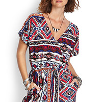 FOREVER 21 High Desert Surplice Romper Navy/Red