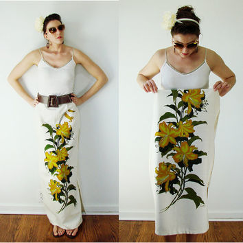Vintage 1950s Alfred Shaheen Skirt Hand Printed HAWAII Maxi Lilly Flower
