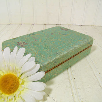 Antique Mint Green & Gold Damask Metal Jewelry Case - Vintage Floral Fabric Covered Jewelry Box - Aqua Sea Foam Satin Velvet Interior Chest