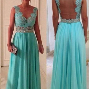 Vnaix B203 2016 Hot Sale Cheap Turquoise Dresses Sheer Neck Back See Through Turquoise Blue Long Bridesmaid Dress