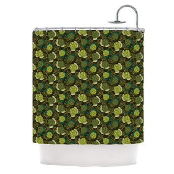 "Holly Helgeson ""Camillia Dark"" Forest Green Shower Curtain"