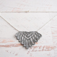 Lace Necklace - Emele - Silver Lace Bridesmaid Necklace - Geometric Diamond Metallic Gray Lace Jewelry