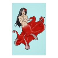 Pinup Octopus Mermaid Poster Print