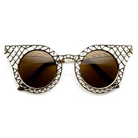 Women's Laser Cut Metal Criss Cross Cat Eye Sunglasses 9353