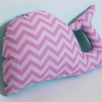 Whale decorative pillow, Plush, Girl Softie, Floral, Chevron, Nursery decor, Baby shower gift, Cute baby toy, Toddler, Children birthday