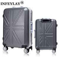 20,24 inches High-grade flat grind arenaceous aluminum frame ABS+PC woman Travel luggage rolling suitcase business Boarding box