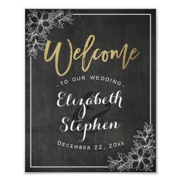 Chalkboard Floral Wedding Welcome Reception Sign