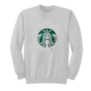 starbuck little mermaid sweater White Sweatshirt Crewneck Men or Women for Unisex Size with variant colour