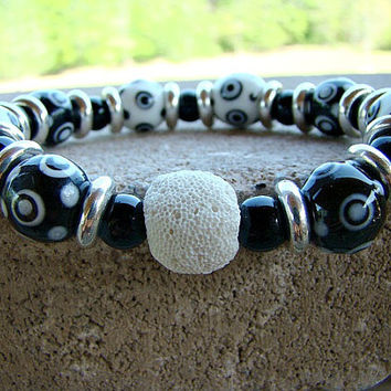Aromatherapy, Scent Diffuser, Layering Bracelets, Mothers Day Gift, Stacking Bracelets, Black, Stretchy Bracelet, White, Stackable Bracelets