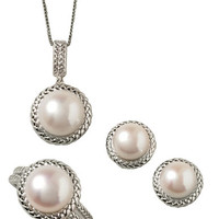 Lord & Taylor Sterling Silver Freshwater Pearl Three-Piece Pendant Earrings and Ring Set