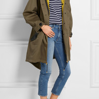 Burberry Prorsum - Oversized hooded shearling and leather-trimmed cotton-twill parka