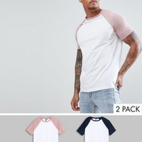 ASOS DESIGN raglan t-shirt with contrast sleeves 2 pack SAVE at asos.com