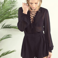 Wild Night Black Lace Up Romper