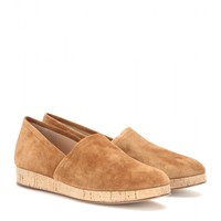 Suede wedge loafers