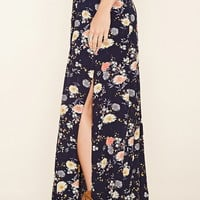 High-Slit Floral Maxi Skirt