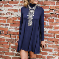 Dusk To Dawn Navy Turtleneck Long Sleeve Swing Dress