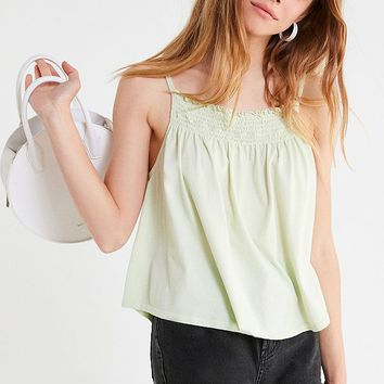 Truly Madly Deeply Smocked High-Neck Tank Top | Urban Outfitters