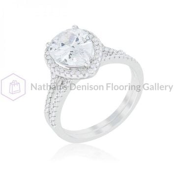 Halo Solitaire Pear Engagement Ring (size: 10) R08441R-C01-10