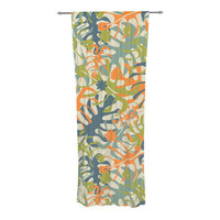 "Julia Grifol ""Summer Tropical Leaves"" Green Orange Decorative Sheer Curtain"