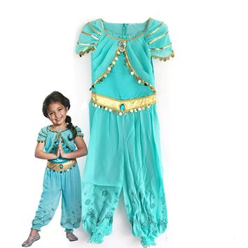 KTLPARTY halloween party cosplay kid children girl princess jasmine costume Aladdin's lamp clothes clothing