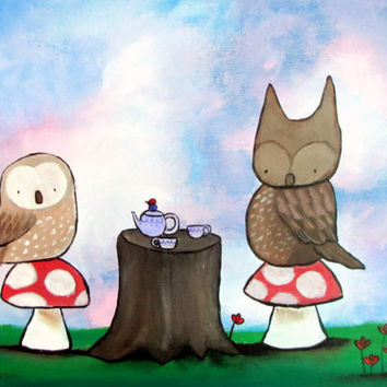 Original Painting, Kids Wall Art, Woodland Owl Tea Party Artwork, Acrylic Painting, Nursery Decor