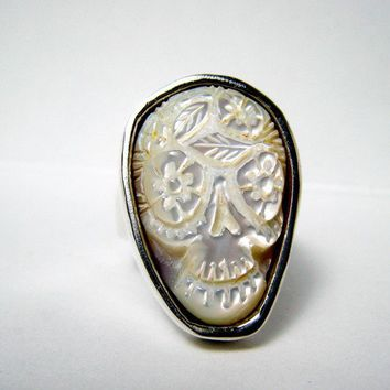 $300.00 White Cloud Sugar Skull Ring Day of the dead carved by RXVrings