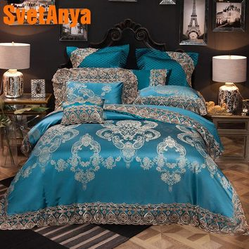 Cool Svetanya Lace Collection Bedding Sets Queen King Size Artificial Silk Cotton Fabric quilted Bedcover+Pillowcases+Quilt CoverAT_93_12
