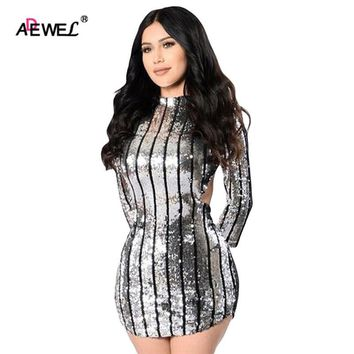 ADEWEL New Arrival Dress 2017 Silver Sequin Party Dresses Vertical Stripe Hollow Out Open Back Long Sleeve Club Mini Dresses